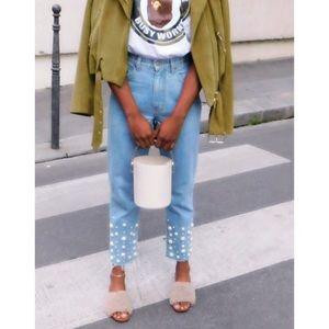 Zara tan faux fur slides high heel Mules